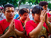 19 OCTOBER 2018 - BANGKOK, THAILAND: Navratri is a nine night (10 day) long Hindu celebration that marks the end of the monsoon and honors of the divine feminine Devi (Durga). The festival is celebrated differently in different parts of India, but the common theme is the battle and victory of Good over Evil based on a regionally famous epic or legend such as the Ramayana or the Devi Mahatmya. Navratri is celebrated throughout Southeast Asia in communities that have a large Hindu population.    PHOTO BY JACK KURTZ