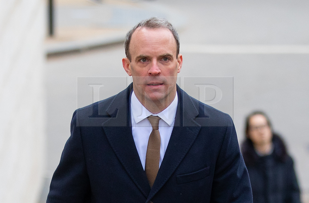 © Licensed to London News Pictures. 15/01/2019. London, UK. Former Secretary of State for Exiting the European Dominic Raab arrives to speak at 'A Better Deal' event, outlining the opportunities if Parliament rejects the Government's proposed deal. Today, MPs are due to vote on British Prime Minister Theresa May's EU withdrawal deal, after the previous vote in December was postponed. Photo credit : Tom Nicholson/LNP