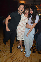 Left to right, JULIEN MacDONALD, FRANCES RUFFELLE and ELIZA DOOLITTLE  at a private performance by Frances Ruffelle entitled 'Paris Original' at The Crazy Coqs, Brasserie Zedel, 20 Sherwood Street, London on 8th October 2013.