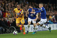 Andros Townsend of Crystal Palace makes a break down the wing. Premier league match, Everton v Crystal Palace at Goodison Park in Liverpool, Merseyside on Friday 30th September 2016.<br /> pic by Chris Stading, Andrew Orchard sports photography.