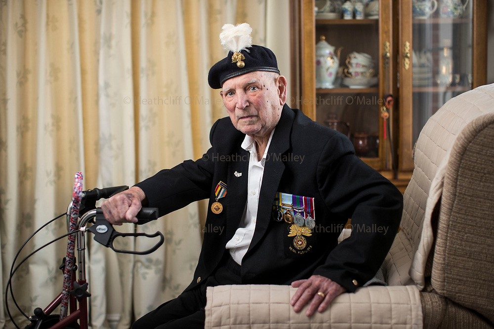 Mcc0081223 . Daily Telegraph<br /> <br /> Korean Veteran's Project<br /> <br /> Arthur Moulder 84yrs, BCoy Royal <br /> Fusileers, photographed at his home in Byfleet .