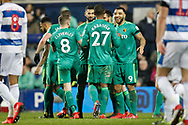 GOAL 0-1 Watford defender Christian Kabasele (27) celebrates with teammates during The FA Cup 5th round match between Queens Park Rangers and Watford at the Loftus Road Stadium, London, England on 15 February 2019.