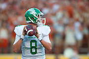 AUSTIN, TX - AUGUST 30:  Josh Greer #8 of the North Texas Mean Green drops back to pass against the Texas Longhorns on August 30, 2014 at Darrell K Royal-Texas Memorial Stadium in Austin, Texas.  (Photo by Cooper Neill/Getty Images) *** Local Caption *** Josh Greer