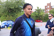 AFC Wimbledon defender Toby Sibbick (20) arriving during the EFL Sky Bet League 1 match between AFC Wimbledon and Scunthorpe United at the Cherry Red Records Stadium, Kingston, England on 15 September 2018.