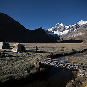 Tents are set up in front of Jirishanca summit at the Mitucocha campsite at the Cordillera Huayhuash trekking circuit , Peru, August 30, 2018. REUTERS/Lisi Niesner