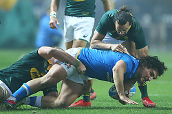November 25, 2017 - Padova, Italy - Tommaso Boni of Italy tackled by Dillyn Leyds of South Africa during the Rugby test match between Italy and South Africa at Plebiscito Stadium in Padova, Italy on November 25, 2017. (Credit Image: © Matteo Ciambelli/NurPhoto via ZUMA Press)