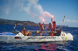 © Licensed to London News Pictures. 21/01/2014. Antigua, UK Henry Brett, Bobby Dundas, James Glasson, Fergus Scholes, have beaten all odd's and won their division of the world's No.1 Ocean Endurance Race after 48 days at sea unaided in just a seven meter rowing boat. The Atlantic Polo Team crossed the finish line of the Talisker Whisky Atlantic Challenge after rowing 3000 miles at 2pm 21st January 2014.Teams row more than 3,000 nautical miles across the world's second largest ocean, heading west from San Sebastian in La Gomera to Nelson's Dockyard English Harbour, Antigua.  Photo credit : Ben Duffy/LNP