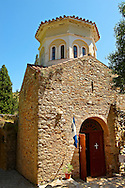 The Byzantine chapel & Ossary of Nea Moni built by Constantine IX and Empress Zoe after the miraculous appearance of an Icon of the Virgin Mary at the site and inaugurated in 1049. Scene of a terrible sack and massacre of hundreds of Chiots and priests during the Ottoman sack of Chios in reprisal for the 1821 Greek War of Indipendance. Nea Moni monastery, Chios Island, Greece. A UNESCO World Heritage Site. .<br /> <br /> If you prefer to buy from our ALAMY PHOTO LIBRARY  Collection visit : https://www.alamy.com/portfolio/paul-williams-funkystock/chios.html<br /> <br /> Visit our GREECE PHOTO COLLECTIONS for more photos to download or buy as wall art prints https://funkystock.photoshelter.com/gallery-collection/Pictures-Images-of-Greece-Photos-of-Greek-Historic-Landmark-Sites/C0000w6e8OkknEb8