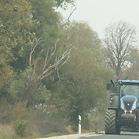 Agricultural machine goes on a road in Western Hungary (about 200 kilometres west of capital city Budapest), Hungary on Oct. 19, 2017. ATTILA VOLGYI