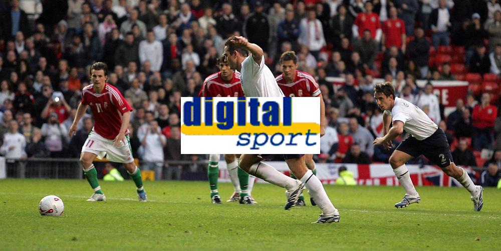 Photo: Paul Thomas.<br /> England v Hungary. International Friendly. 30/05/2006.<br /> <br /> Frank Lampard (8) of England has his penalty blocked.