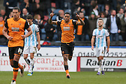 Hull City striker Abel Hernandez (9) scores a goal and celebrates to make the score 1-1 during the Sky Bet Championship match between Huddersfield Town and Hull City at the John Smiths Stadium, Huddersfield, England on 9 April 2016. Photo by Simon Davies.