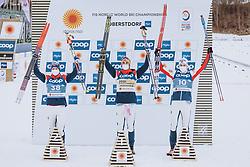 03.03.2021, Oberstdorf, GER, FIS Weltmeisterschaften Ski Nordisch, Oberstdorf 2021, Herren, Langlauf, 15 km Freestyle, Siegerehrung, im Bild v.l.: Silbermedaillengewinner Simen Hegstad Krueger (NOR), Weltmeisterin und Goldmedaillengewinner Hans Christer Holund (NOR), Bronzemedaillengewinner Harald Oestberg Amundsen (NOR) // f.l.: Silver medalist Simen Hegstad Krueger of Norway World champion and gold medalist Hans Christer Holund of Norway Bronze medalist Harald Oestberg Amundsen of Norway during the winner ceremony for the men Cross Country 15 km freestyle competition of the FIS Nordic Ski World Championships 2021 in Oberstdorf, Germany on 2021/03/03. EXPA Pictures © 2021, PhotoCredit: EXPA/ Dominik Angerer