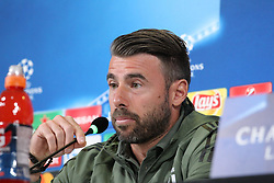 September 26, 2017 - Turin, Piedmont, Italy - Andrea Barzagli (Juventus FC) during the Juventus FC press conference on the eve of  the UEFA Champions League (Group D) match between Juventus FC and Olympiakos FC  at Allianz Stadium on 26 September, 2017 in Turin, Italy. (Credit Image: © Massimiliano Ferraro/NurPhoto via ZUMA Press)