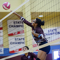 Ganado Hornet Michelene Coleman (15) spikes the ball past St Michaels Cardinal  Paige Laughing (6) during the championship of the Rehoboth Tournament Saturday at Rehoboth High School.