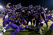 The Baltimore Ravens celebrate in the end zone by taking a group photo during an NFL football game against the Los Angeles Rams, Monday, Nov. 25, 2019, in Los Angeles. The Ravens defeated the Rams, 45-6. (Ryan Kang via AP)