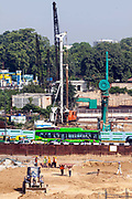 Construction work by the ISBT bus station, Delhi, India
