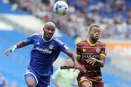 Cardiff City's Frederic Gounongbe (l) and QPR's Jordan Cousins challenge for the ball. EFL Skybet championship match, Cardiff city v Queens Park Rangers at the Cardiff city stadium in Cardiff, South Wales on Sunday 14th August 2016.<br /> pic by Carl Robertson, Andrew Orchard sports photography.