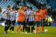 Players shake hands at full time during the EFL Cup match between Sheffield Wednesday and Everton at Hillsborough, Sheffield, England on 24 September 2019.