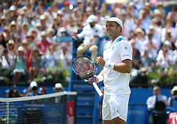 Luxembourg's Gilles Muller celebrates victory over USA's Sam Querrey during day five of the 2017 AEGON Championships at The Queen's Club, London.