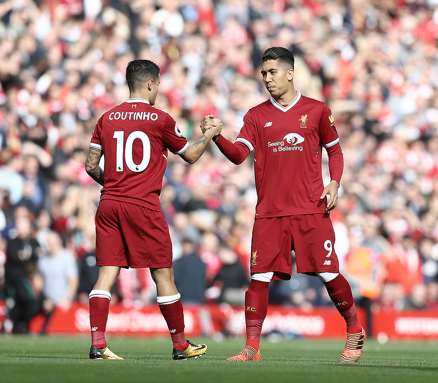 Liverpool's Philippe Coutinho and Roberto Firmino prepare for kick off<br /> <br /> Photographer Rich Linley/CameraSport<br /> <br /> The Premier League - Liverpool v Manchester United - Saturday 14th October 2017 - Anfield - Liverpool<br /> <br /> World Copyright © 2017 CameraSport. All rights reserved. 43 Linden Ave. Countesthorpe. Leicester. England. LE8 5PG - Tel: +44 (0) 116 277 4147 - admin@camerasport.com - www.camerasport.com