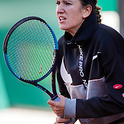 PARIS, FRANCE September 26. Victoria Azarenka of Belarus training on Court Philippe-Chatrier in preparation for the 2020 French Open Tennis Tournament at Roland Garros on September 26th 2020 in Paris, France. (Photo by Tim Clayton/Corbis via Getty Images)