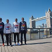Daniel Wanjiru , Keninisa Bekele,Eliud Kipchoge, Guye Adola - Elite men photocall - Virgin Money London Marathon at Tower Hill on 19 April 2018, London, UK.