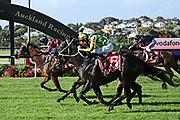 Craig Grylls on Rocket Spade wins Race 9, Vodafone NZ Derby (G1) 2400.<br /> Vodafone Derby Day at Ellerslie Race Course, Auckland on Sunday 7th March 2021 during lockdown level 2.<br /> Copyright photo: Alan Lee / www.photosport.nz