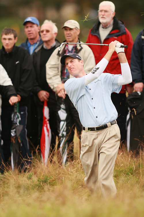 CARNOUSTIE, SCOTLAND - JULY 22:  Jim Furyk plays a shot out of the rough during the fourth round of the 136th Open Championship in Carnoustie, Scotland at Carnoustie Golf Links on Sunday, July 22, 2007. (Photo by Darren Carroll/Getty Images) *** LOCAL CAPTION *** Jim Furyk