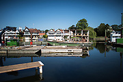 Henley. Berks, United Kingdom. <br /> <br /> General View, GV. Looking from the boat area  across the river to the town.  Construcion equipment moored. 2017 Henley' Women's Regatta. Rowing on, Henley Reach. River Thames. <br /> <br /> <br /> Saturday  17/06/2017<br /> <br /> <br /> [Mandatory Credit Peter SPURRIER/Intersport Images]