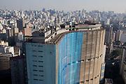 Overhead view of Edificio Copan Copan building in Sao Paulo from Edificio Italia Italy building, showing the skyscrapers and urban sprawl as far as the eye can see, Central Sao Paulo, Brazil.