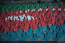 June 12, 2015 - Baku, Azerbaijan - Moments during the Opening ceremony of the first European Olympic Games in Baku, Azerbaijan. 856 female performers create patterns typical of Azerbaijani carpets and finally the Azerbaijani flag. (Credit Image: © Jacob Balzani Loov/ZUMA Wire)