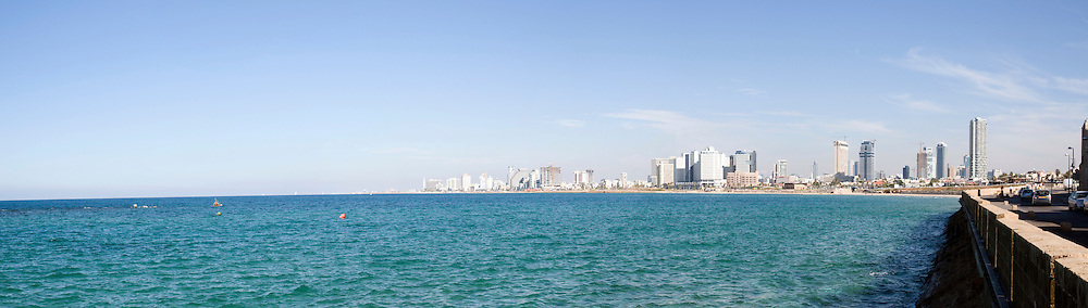 Israel, Tel Aviv Panoramic view of the coast line as seen from south from Old Jaffa