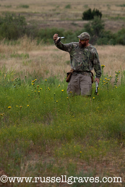 HUNTER WALKING TO PICK UP A DOWNED MOURNING DOVE