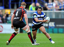 Bath prop Anthony Perenise in possession - Photo mandatory by-line: Patrick Khachfe/JMP - Tel: Mobile: 07966 386802 19/10/2013 - SPORT - RUGBY UNION - Recreation Ground - Bath - Bath V Newport Gwent Dragons - Amlin Challenge Cup