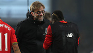 Jurgen Klopp manager of Liverpool  celebrateswith Sadio Mané of Liverpool after the English Premier League match at Goodison Park, Liverpool. Picture date: December 19th, 2016. Photo credit should read: Lynne Cameron/Sportimage