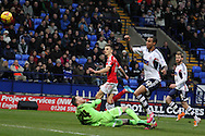 Nottingham Forest's Jamie Paterson scores his sides first goal. Skybet championship match, Bolton Wanderers v Nottingham Forest at the Reebok Stadium in Bolton, England on Saturday 11th Jan 2014.<br /> pic by David Richards, Andrew Orchard sports photography.