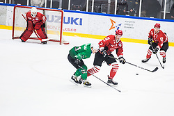STOJAN Nejc vs RAJSAR Saso during the match between HDD Jesenice vs HK SZ Olimpia at 16th International Summer Hockey League Bled 2019 on 24th August 2019. Photo by Peter Podobnik / Sportida