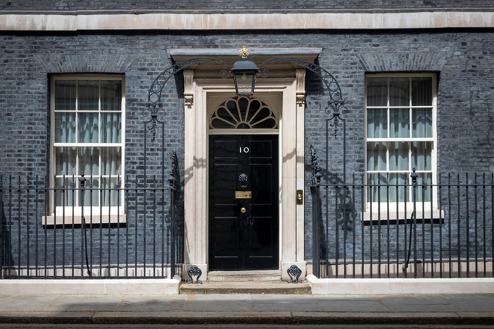A rare bit of sunshine hits the main front door of number 10 Downing Street, the home of the British Prime Minister on the 25th of May 2021 in Westminster, London. UK.(photo by Andrew Aitchison / In pictures via Getty Images)