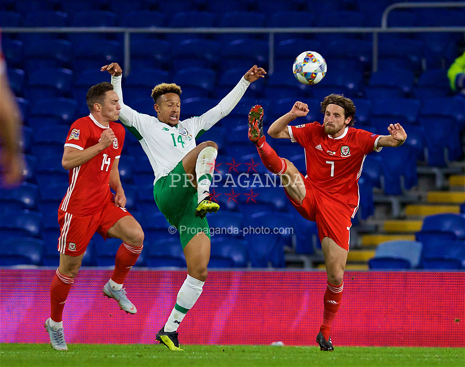 CARDIFF, WALES - Thursday, September 6, 2018: Republic of Ireland's Cyrus Christie (left) and Wales' Joe Allen during the UEFA Nations League Group Stage League B Group 4 match between Wales and Republic of Ireland at the Cardiff City Stadium. (Pic by David Rawcliffe/Propaganda)