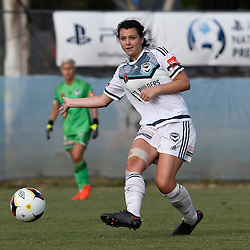 BRISBANE, AUSTRALIA - JANUARY 1: Alexandra Natoli of the Victory passes the ball during the round 10 Westfield W-League match between the Brisbane Roar and Melbourne Victory at AJ Kelly Park on January 1, 2016 in Brisbane, Australia. (Photo by Patrick Kearney/Brisbane Roar)