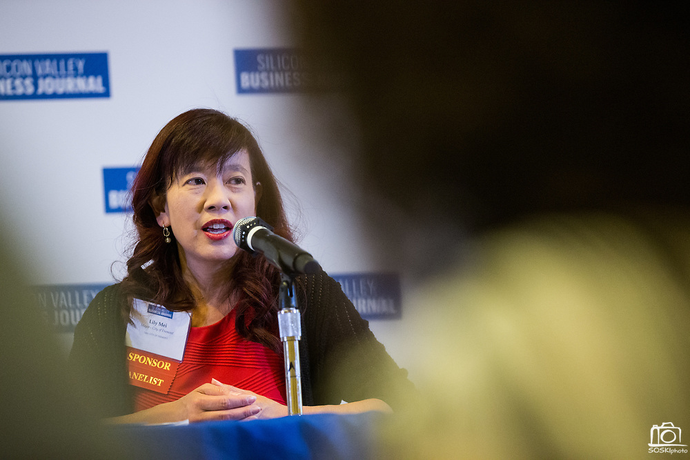 Lily Mei, City of Fremont Mayor, talks during the Silicon Valley Business Journal's Future of Fremont event at Fremont Marriott Silicon Valley in Fremont, California, on June 18, 2019.  (Stan Olszewski for Silicon Valley Business Journal)