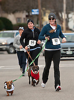 Courtney Bates, Collette St. Germain and Amy Baxter participate in the Frozen 5K race to benefit the WLNH Children's Auction.  (Karen Bobotas/for the Laconia Daily Sun)