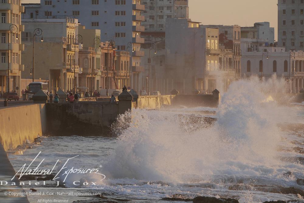 Waves breaking over the The Malecón, Havana, Cuba.