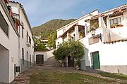 Whitewashed houses in Linares de la Sierra, Sierra de Aracena, Huelva province, Spain