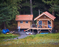 Cabin along the Wrangell Narrows. Image taken with a Nikon D300 camera and 70-300 mm VR lens.