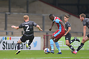 Abo Eisa (11) of Scunthorpe United scores a goal during the Pre-Season Friendly match between Scunthorpe United and Doncaster Rovers at Glanford Park, Scunthorpe, England on 15 August 2020.
