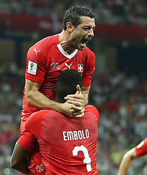NIZHNY NOVGOROD, June 27, 2018  Blerim Dzemaili (top) of Switzerland celebrates his scoring during the 2018 FIFA World Cup Group E match between Switzerland and Costa Rica in Nizhny Novgorod, Russia, June 27, 2018. (Credit Image: © Fei Maohua/Xinhua via ZUMA Wire)