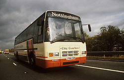 Coach travelling along motorway,