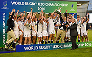 England players celebrate victory after the World Rugby U20 Championship Final match England U20 -V- Ireland U20 at The AJ Bell Stadium, Salford, Greater Manchester, England onSaturday, June 25, 2016. (Steve Flynn/Image of Sport)