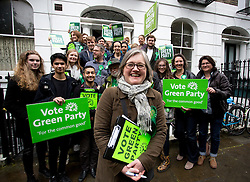 © Licensed to London News Pictures. 03/05/2015. London, UK. Islington Green party candidate Caroline Russell and supporters go on a canvassing day today around Islington, London. Photo credit: LNP